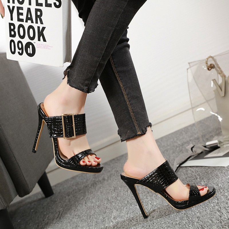TTSDARCUPS Euro-American Street Shots Comfortable and Simple High-heeled Sandals High heel slippers fashion pumps