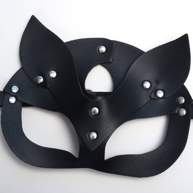 High Quality Half Face Cat Masks For Women Faux Leather Bandage Head Mask Accessories Party Cosplay Punk Black Adjustable Masks 4