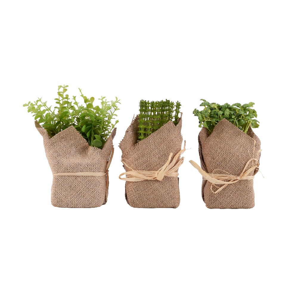 mini artificial plants burlap wrapped artificial pot decorative greenery home decor plant. Black Bedroom Furniture Sets. Home Design Ideas