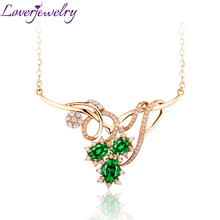 6d04efeec06e LOVERJEWELRY extravagante estilo Reina collar de moda de mujer Esmeralda  collar de Ángel con diamante Natural 18 K oro amarillo .