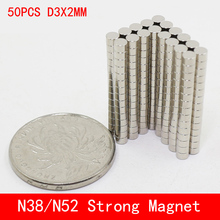 50pcs/lot Super Strong Rare Earth mini 3mm x 2mm Permanet Magnet Round Neodymium Magnet N52 N38 3*2MM surface plate nickel 1000pcs lot n52 12 2mm strong ndfeb magnets bulk super round disc rare earth neodymium magnet 12mm x 2mm aps0534