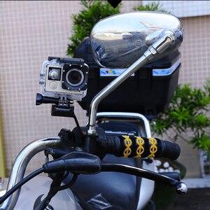 Image 5 - Staffa di montaggio per specchietto retrovisore moto in alluminio Stent supporto fisso per Gopro Hero 7 6 5 4 3 + Xiaomi Yi SJCAM treppiede monopiede