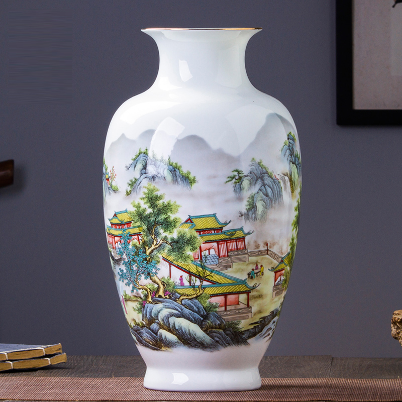 Antique Jingdezhen Eggshell Vase With Flowers and Landscape Patterns Ceramic Table Vase Porcelain Decorative VaseAntique Jingdezhen Eggshell Vase With Flowers and Landscape Patterns Ceramic Table Vase Porcelain Decorative Vase