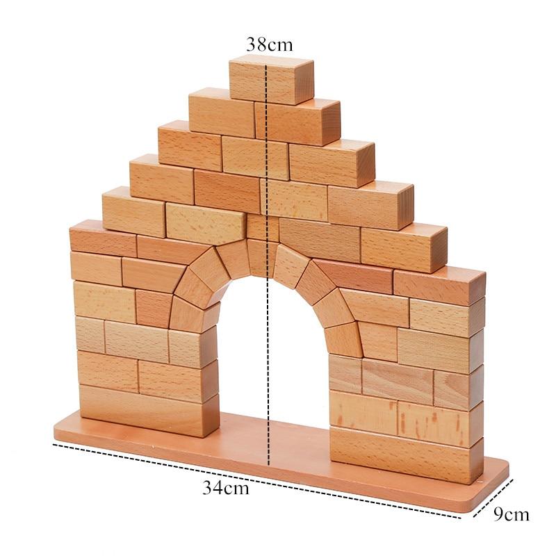 Brinquedo do bebê montessori ponte romana de madeira para educação infantil pré escolar crianças brinquedos juguetes - 6