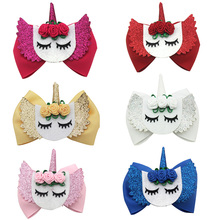 Hair Accessories Bows for Girls Shiny Glitter Clips 3 Cute Elk Unicorn Hairpins Kids Princess Accessory