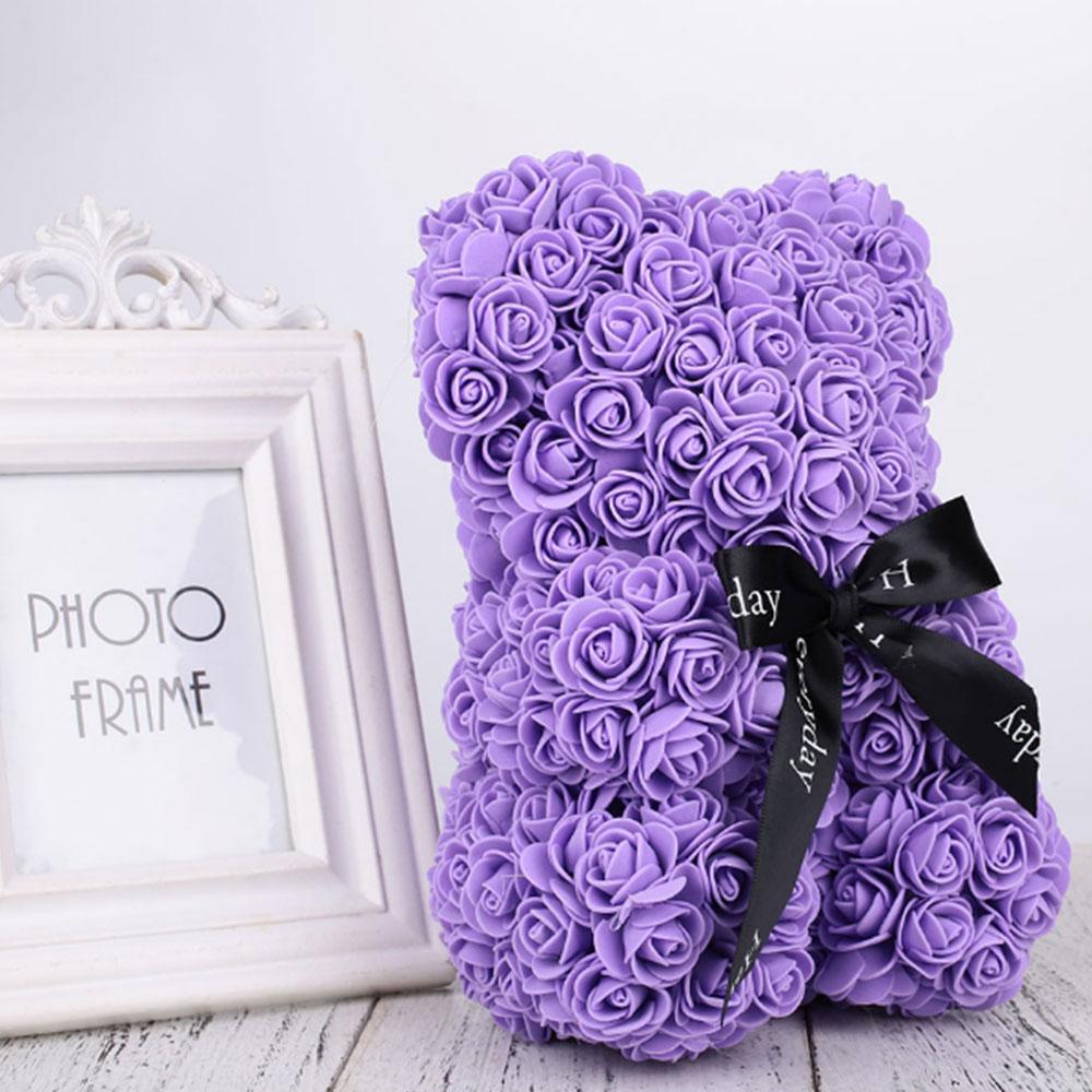 Искусственные цветы розы Медведь собака кролик Мопс юбилей день Святого Валентина подарок на день рождения мать подарок Свадебная вечеринка украшение - Цвет: 40CM Purple Bear