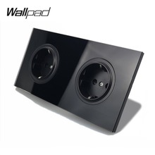 Wallpad L6 Black Tempered Glass Double Frame EU Wall Socket Electrical German Power Outlet 16A Round Design