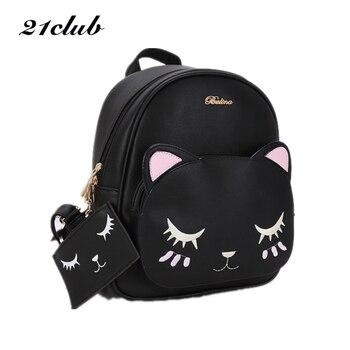 21 club marca mujeres negro gato mochila lindo hombro compuesto bolsa hotsale señora monedero bolsas de compras estilo preppy estudiante paquete