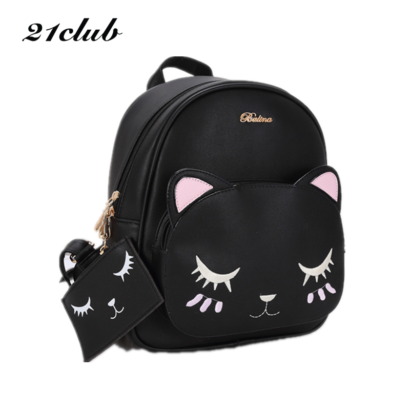 21club brand women black cat rucksack cute shoulder composite bag hotsale lady purse shopping bags preppy style student packpack цена