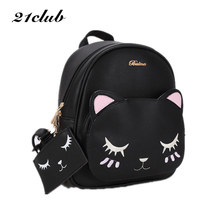 21club brand women black cat rucksack cute shoulder composite bag hotsale lady purse shopping bags preppy style student packpack