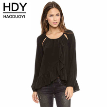 hot deal buy hdy haoduoyi fashion asymmetrical tops women long sleeve female chiffon shirts hollow out solid casual blouses shirts