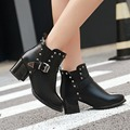 New women ankle boots heels leather autumn and winter shoes woman buckle rivets chunky heel thick heel martin boots plus size 47