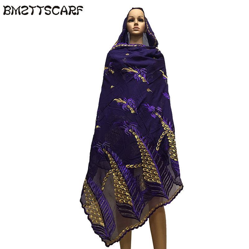 African Scarfs Muslim Embroidery Soft Cotton match Net Big Size   Scarf   for   Wraps   Shawls BM659