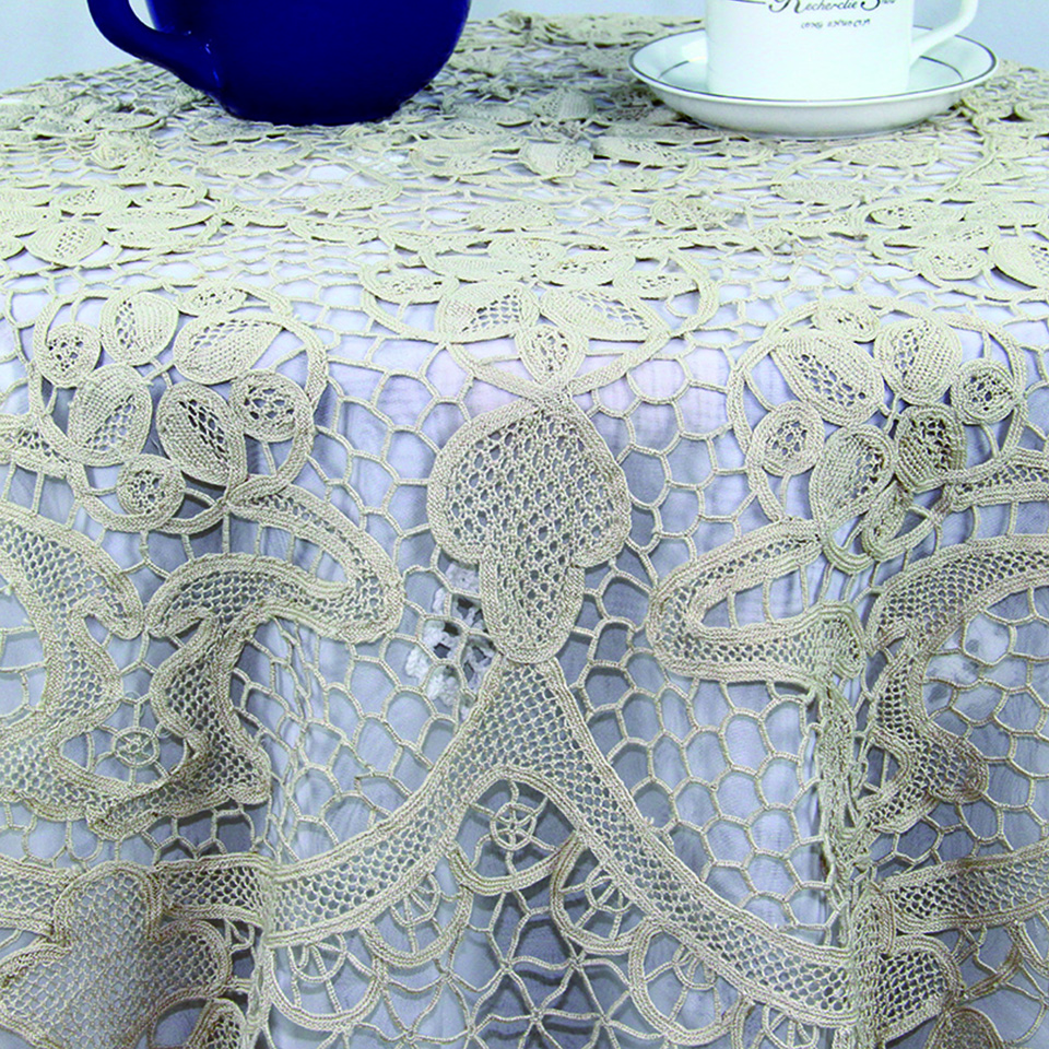 QUNYINGXIU Baumwolle Toskana Spitze Tischdecke Beige Handmade Pretty - Haustextilien - Foto 2