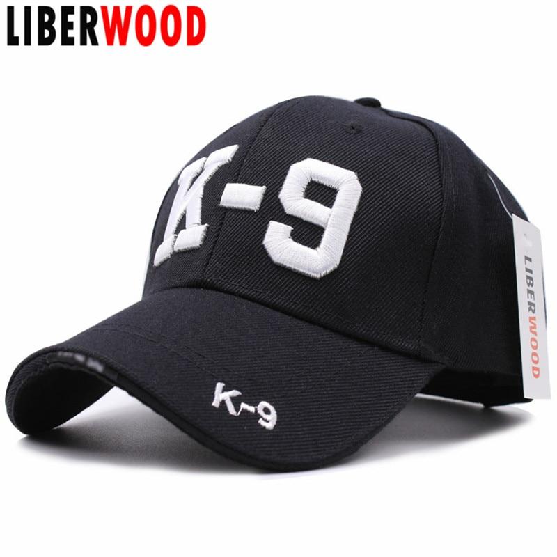 Prix pour [LIBERWOOD] 3D Brodé Noir K9 Canine Chien Policier Flics K-9 SERVICE CHIEN Casquette de baseball Caps HOMMES Chapeau Chapeaux Réglable cap