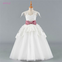 Ivory 2019 Flower Girl Dresses For Weddings Ball Gown Cap Sleeves Tulle Lace Bow First Communion Dresses For Little Girls(China)