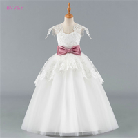 Ivory 2018 Flower Girl Dresses For Weddings Ball Gown Cap Sleeves Tulle Lace Bow First Communion