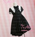 New Design Cute Girls spade Magician Cool Irregulare Hem Black Dress Summer Short Sleeve Diamond Embroidery Lolita Dress