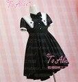 Nuevo Diseño de Las Muchachas Lindas spade Mago Fresco Irregulare Dobladillo Del Vestido Negro del Verano de Diamantes de Manga Corta Bordado Vestido de Lolita