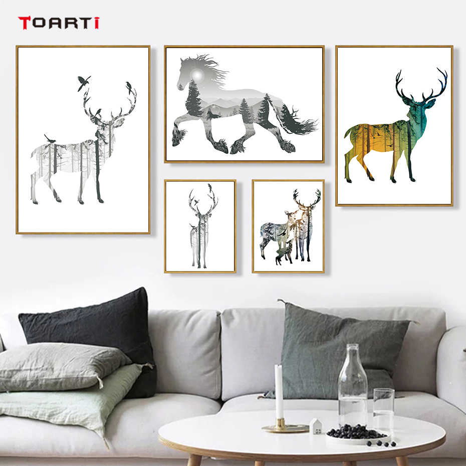 Nordic Forest Deer Horse Lion Print&Poster A4 Canvas Painting Art Oil Kids Room Wildlife Animal Home Decor Modular Wall Picture
