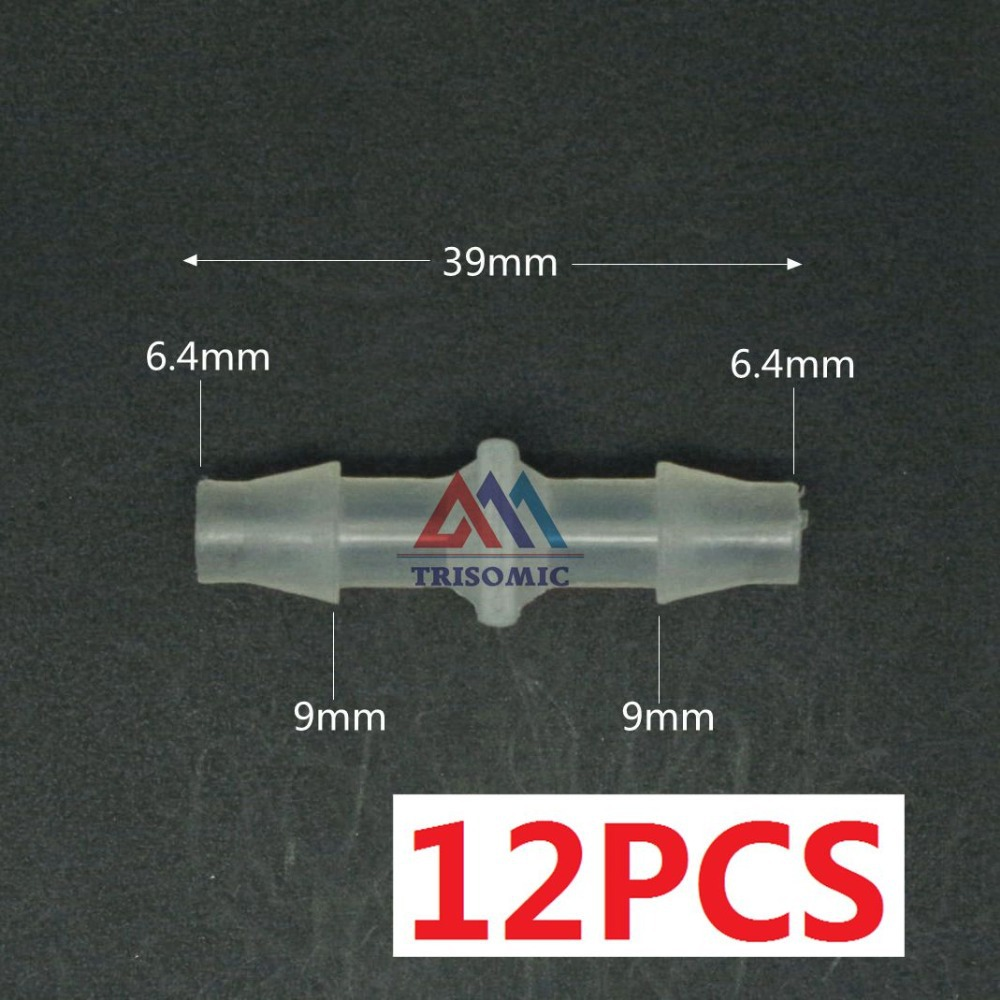 12 pieces6.4mm Straight Connector Plastic Fitting Barbed Connector Material PP Hose PVC Tube Joiner Fitting Aquarium Tank