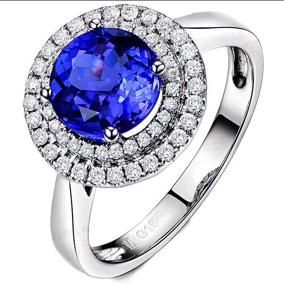 Luxury 2 Carat Tanzanite Simulated Diamond Double Halo Womens Ring Solid 9K White Gold Engagement Ring