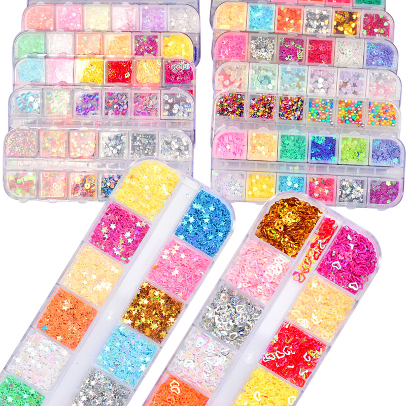 12 Color Nail Glitter Sequins Paillette Mixed Size Shaped Mini Round Rhombus 3D Flakes Nail Art Tips Decorations Set