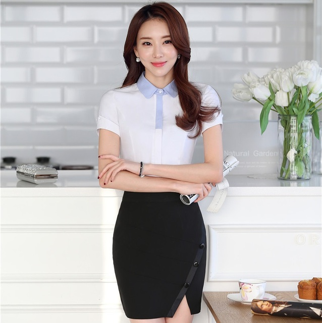 7afd92cf5377 New Formal Uniform Styles Fashion Professional Business Women Work Suits  Tops And Skirt Female Shirts Outfits