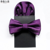 2 PCS/set Mens Bow Tie Set Skull Pattern Costume Accessories for Wedding Party Neckerchief Mens Lazy Pocket Square