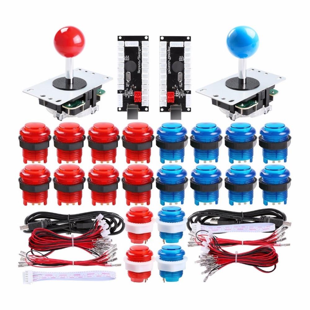 Pohiks 2 joueurs Arcade kit de bricolage 2x encodeur USB + 2x Joystick + 20x LED boutons pour Arcade PC jeu bricolage projet