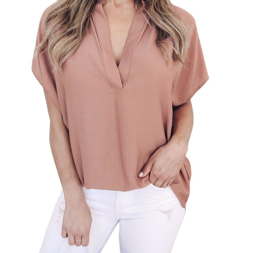 womens tops and blouses Women Summer Chiffon Short Sleeve Casual Shirt Tops Lady Blouse Tee Shirt women tops chemise femme4.1L3