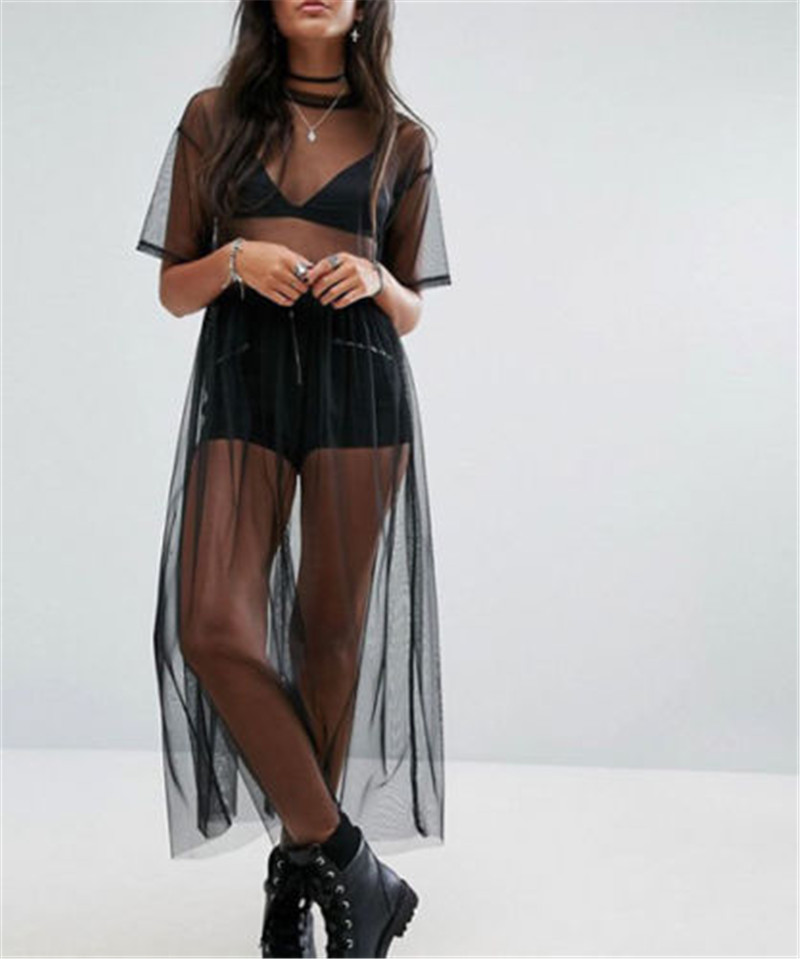 Black long sleeve short dress with mesh dresses