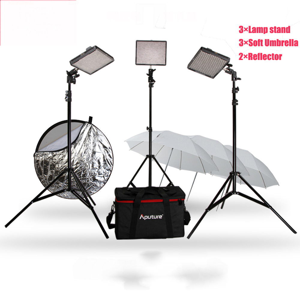 Aputure Amaran LED Video Camera Light Set AL-528W+AL-528W+AL-528S 528KIT-WWS + Stand+Soft umbrella+Reflector Free Gift 11.11 aputure amaran led video camera light set hr672kit led photography light led light hr672ssw kit 3 led video light set