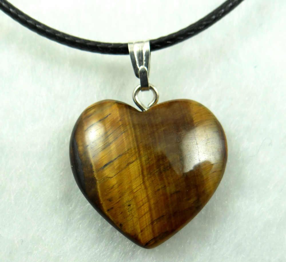 หินธรรมชาติ Turquoises Aventurine ควอตซ์คริสตัล Tiger Eye lapis จี้หัวใจสำหรับ DIY เครื่องประดับทำสร้อยคออุปกรณ์เสริม