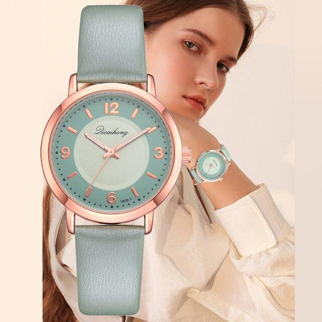 2018 Sweet Girls Fashion Candy Green Leather Strap Sport Quartz Watch Top Brand