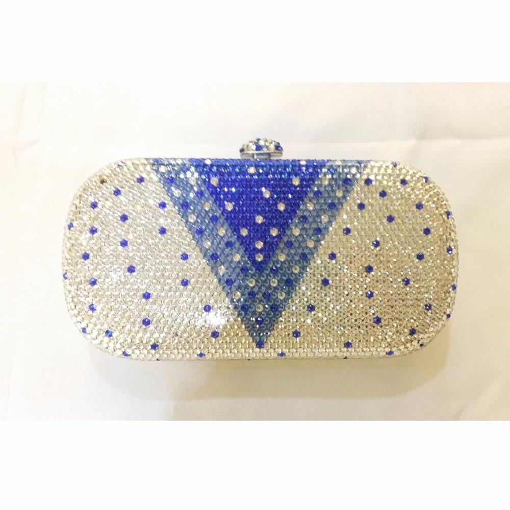ФОТО 8016V-Blue Crystal oval Lady fashion Bridal Metal Evening purse clutch bag case handbag box