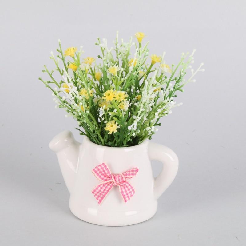 artificial flowers with ceramic pots gypsophila babys breath silk flower plant wedding party home decoration artificial