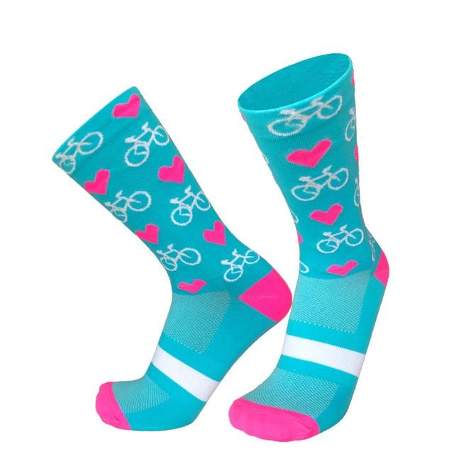 Novo esporte profissional pro meias de ciclismo meias de compressão de estrada meias de bicicleta de montanha meias de corrida padrão de coração 4