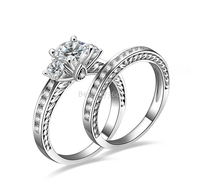 1 carat 4 prongs 925 sterling silver separable ring SONA diamant wedding anniversary love ring bands US size from 4 to 10.5