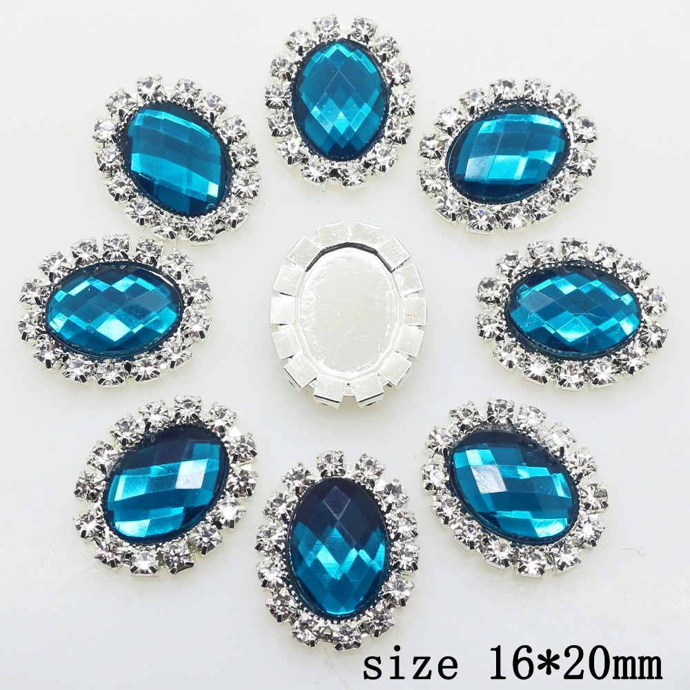 Limited Edition 10pcs 16 * 20mm Oval Diy Jewelry  Accessories Rhinestone Acrylic Wedding Invitation Clothing Accessories