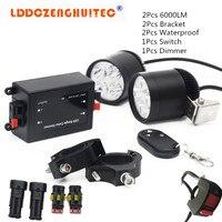LDDCZENGHUITEC Universal LED 40W 8000LM Motorcycle Light Headlight Driving Fog Spot Night Work Lamp for Motorcycle, ATV, Car,