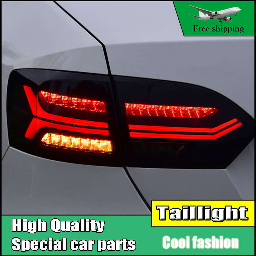 Car Styling Tail lamp For Volkswagen VW Jetta MK6 TailLight 2012-2014 LED DRL Moving Yellow Turn Signal Reverse light Rear Lamp liandlee for volkswagen vw jetta a6 1b mk6 vw sagitar led car license plate lights number frame light high quality led lamp