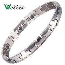 лучшая цена Inox Fashion Jewelry 21.5cm Stainless Steel Infrared Negative Ion Healing Energy Germanium Tourmaline Bracelets For Women