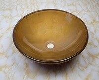 Wonderful Bathroom Tempered Glass Vessel Vanity Various Hand Printing Color Sink Bowl With Water Drain CC