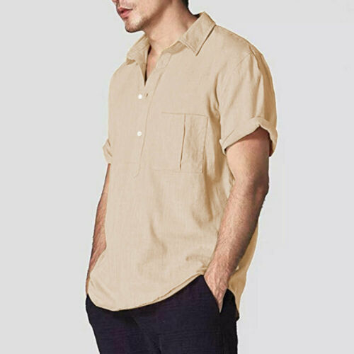 Mens Short Sleeve Shirts Linen Cotton Button Down Summer Shirts Men's Linen Short Sleeve Shirt Summer Loose Casual V-Neck Shirts