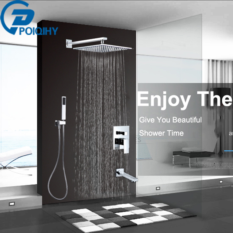 Chrome 16 Shower Set Faucet Stainless Steel Bath Tap Rainfall Bathroom Shower Mixer Tap Wall Mount Waterfall Tap china sanitary ware chrome wall mount thermostatic water tap water saver thermostatic shower faucet
