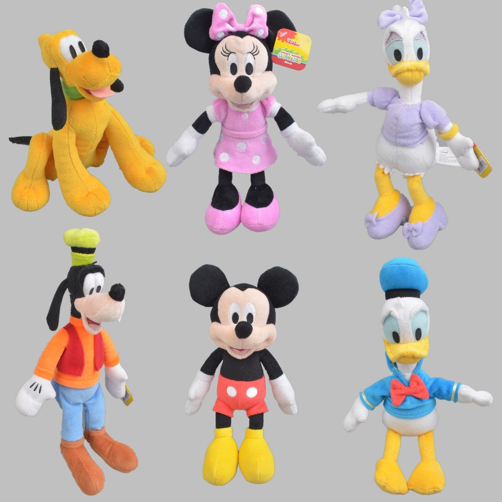 25 cm Mickey Minnie Mouse,Donald duck and daisy,GOOFy dog,Pluto dog,Plush Toys Funny Toy For Kid Christmas Gift Free Shipping