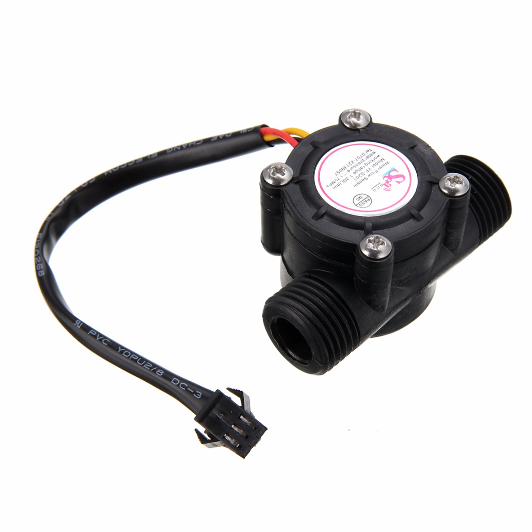 1/2'' Water Flow Sensor 1-30L/min Hall Flowmeter Temperature Sensor For Arduino Turbine Flowmeter Measure Temperature Instrument
