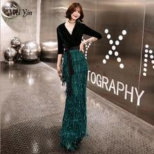 Wei yin Grün Samt Abendkleider Lange Meerjungfrau V ausschnitt Formale Kleid Pailletten Abendkleider Frauen robe de soiree longue WY1262