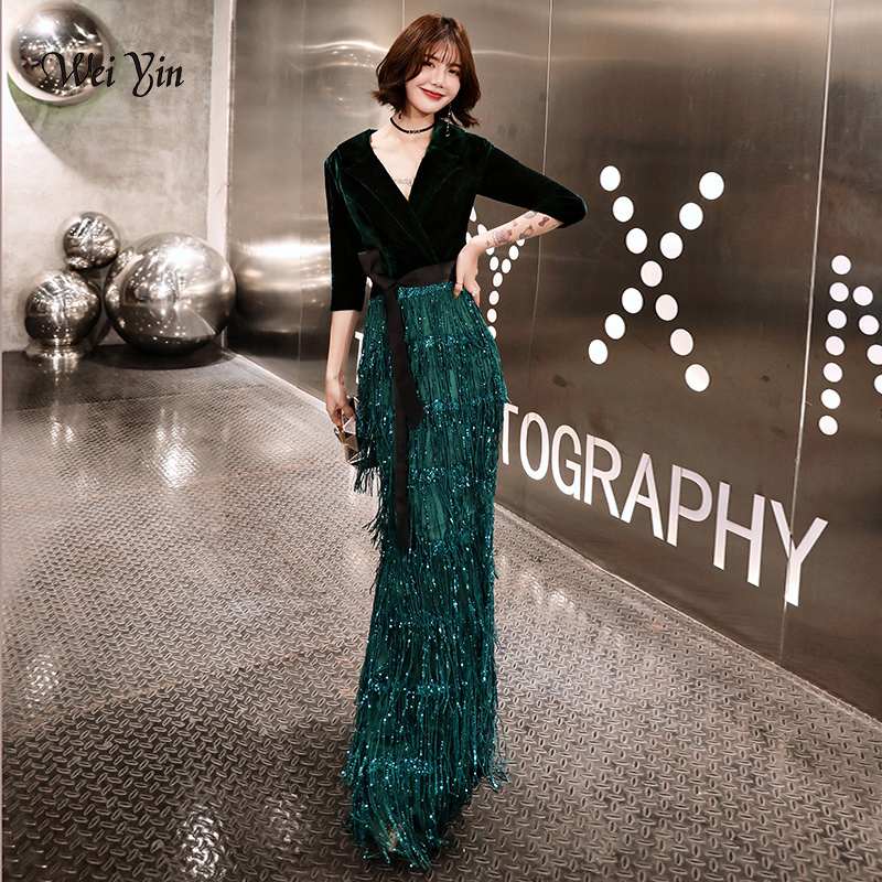 Weiyin Green Velvet Evening Dresses Long Mermaid V-Neck Formal Dress Sequined Abendkleider Women Robe De Soiree Longue WY1262